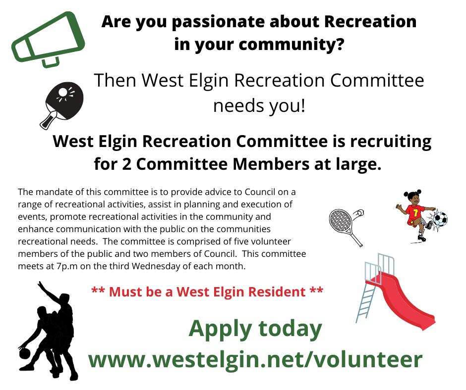 Recreation Committee Members Wanted Advertisement