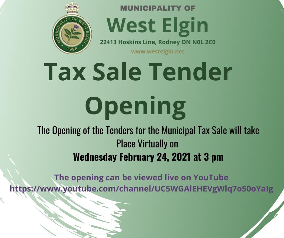 Tax Sale Tender Opening Notice