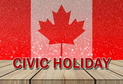 Civic Holiday sign