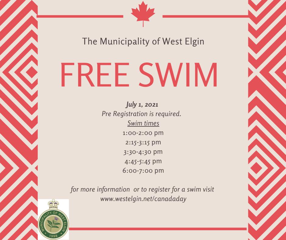 Canada Day Free Swim Poster