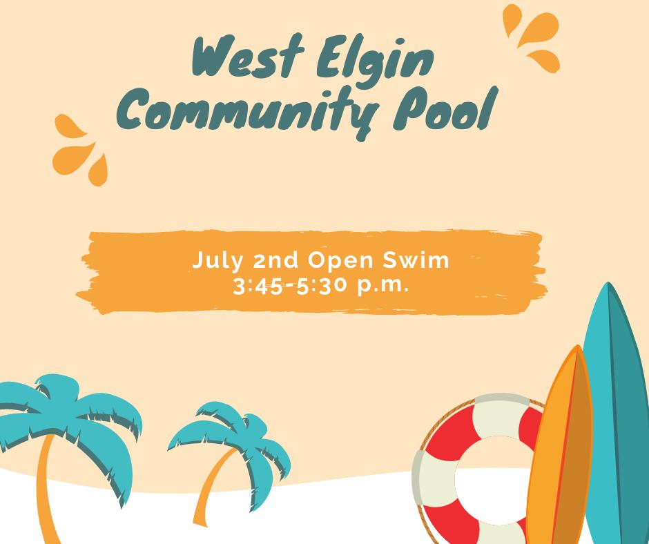 July 2, 2021 Open Swim Poster
