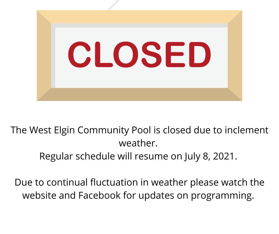 West Elgin Community Pool Closed