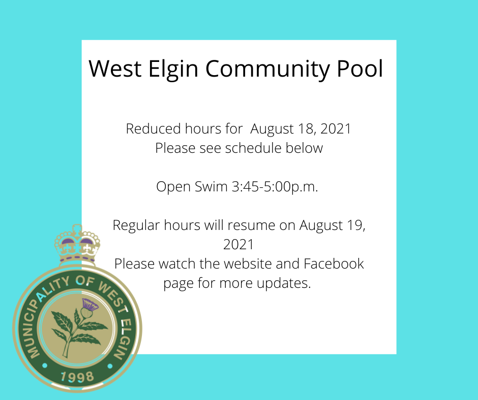 Reduced hours for August 18, 2021