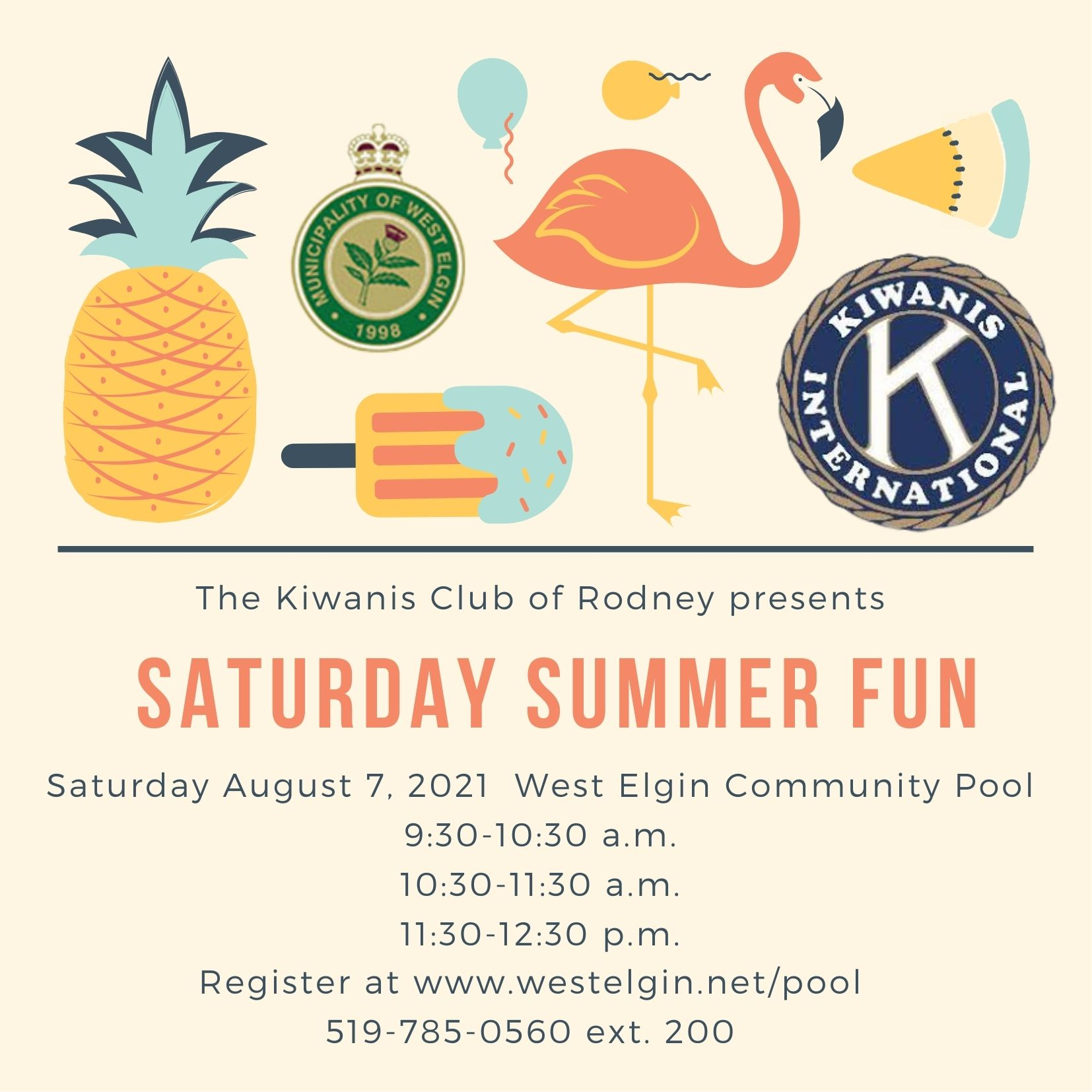 Saturday Summer Fun August 7 morning swim times